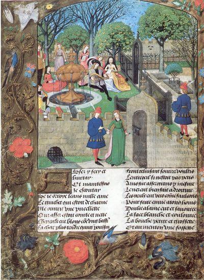 IIllustration du Roman de la Rose de Guillaume de Lorris et Jean de Meung, London, British Library